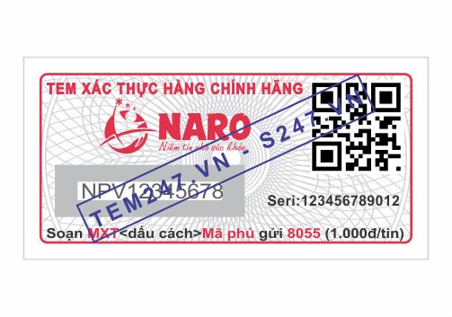 MS045 - Tem Naro Pharma kích cỡ 1.5x3