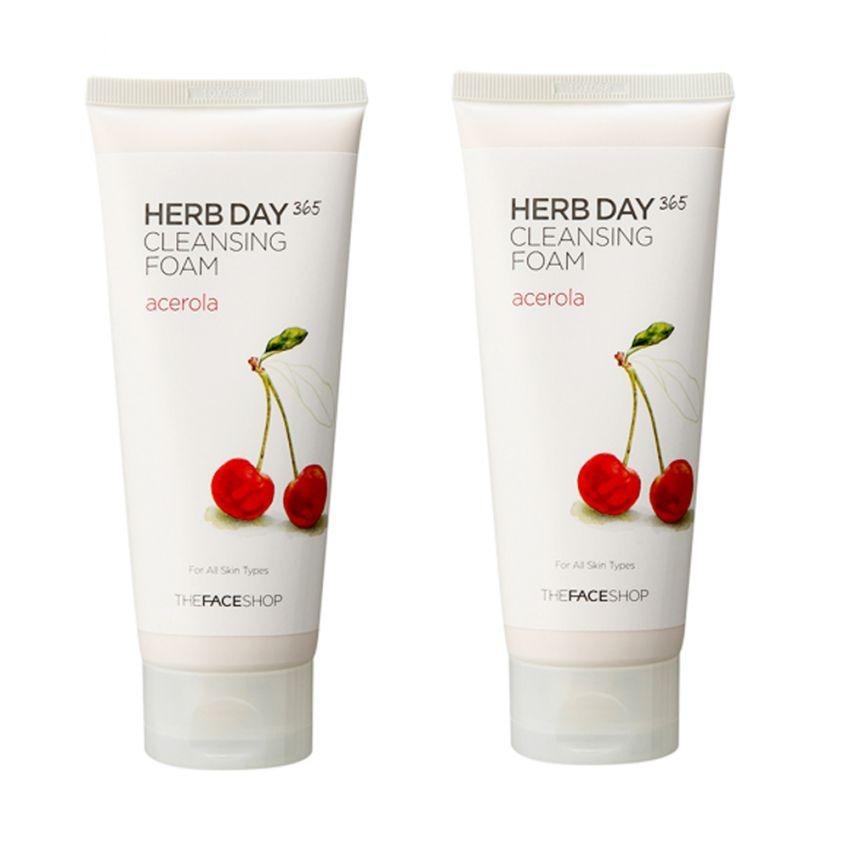 Bộ 2 Sữa rửa mặt làm dịu mát da THEFACESHOP Herb Day 365 Cleansing Foam Acerola 170ml x 2