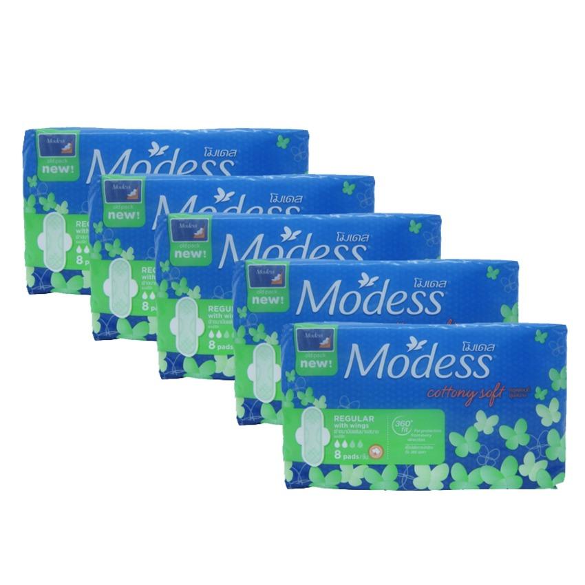 Bộ 5 gói băng vệ sinh Modess 5 x 8 miếng