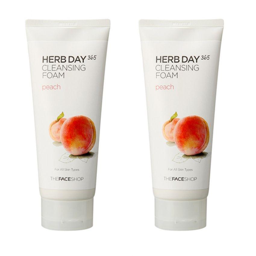 Bộ 2 Sữa rửa mặt làm dịu mát da- THEFACESHOP Herb Day 365 Cleansing Foam Peach 170ml x 2