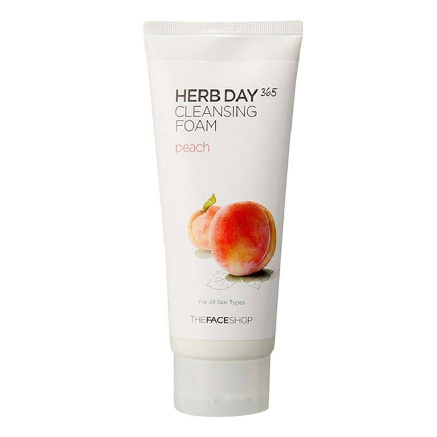 Sữa rửa mặt dưỡng da sạch mịn- THEFACESHOP Herb Day 365 Cleansing Foam Peach 170ml