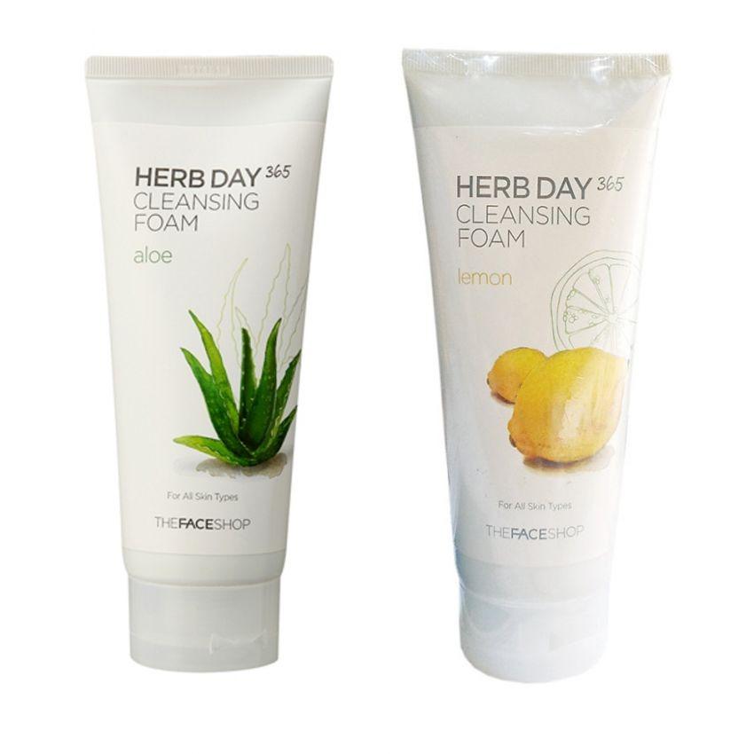 Bộ 2 Sữa rửa mặt làm dịu mát da THE FACE SHOP Herb Day 365 Cleansing Foam (Aloe và Lemon) 170ml