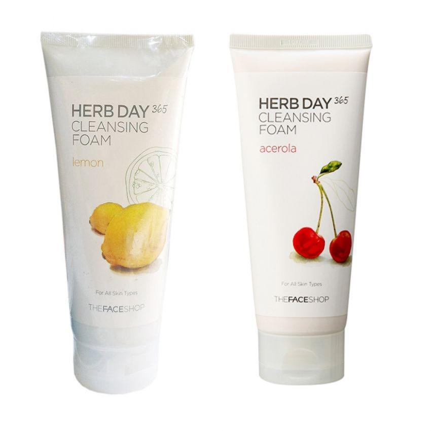 Bộ 2 Sữa rửa mặt THEFACESHOP Herb Day 365 Cleansing Foam (Acerola và Lemon) 170ml x 2
