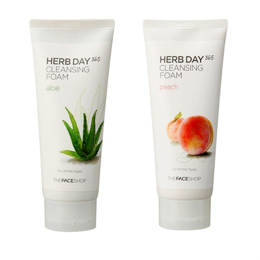 Bộ 2 sữa rửa mặt làm dịu mát da THEFACESHOP Herb Day 365 Cleansing Foam (Aloe và Peach) 170ml x 2