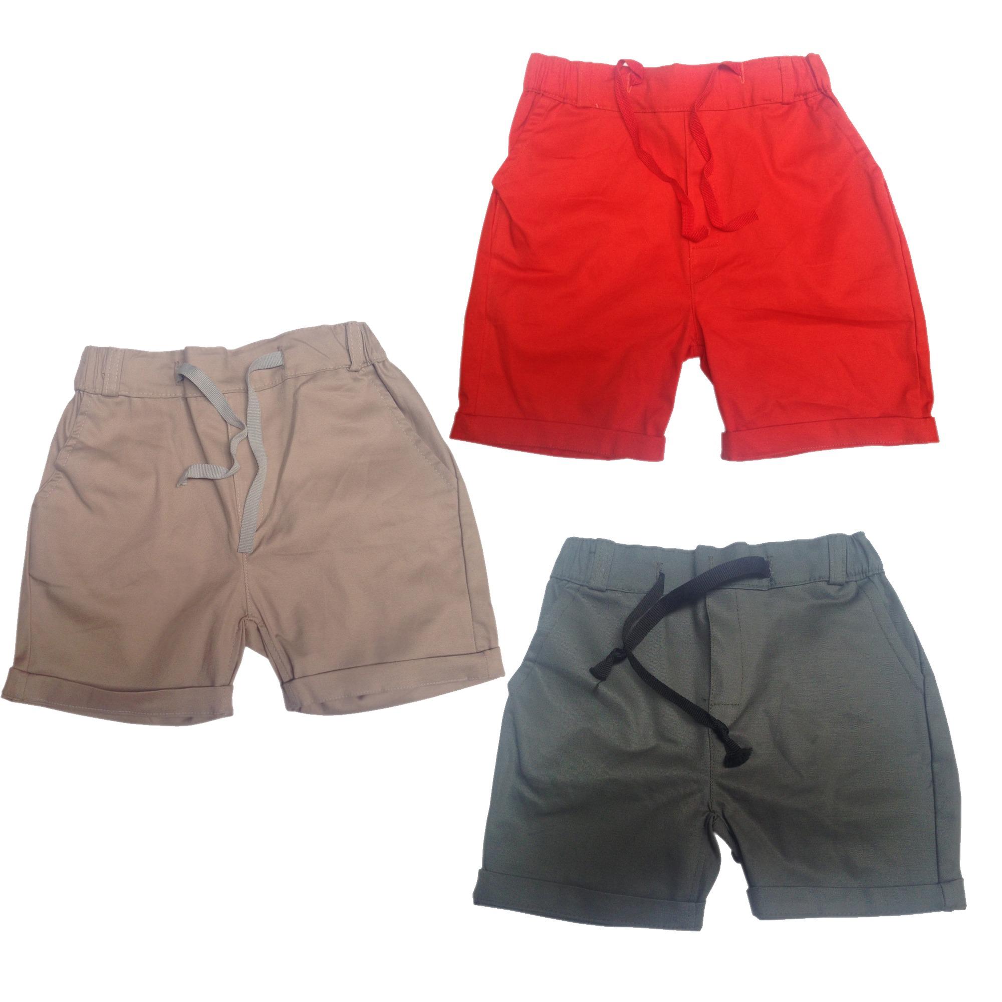 Bộ 3 Quần sóc body cho bé trai Made in VietNam - màu Bộ đội, Cam, Khaky
