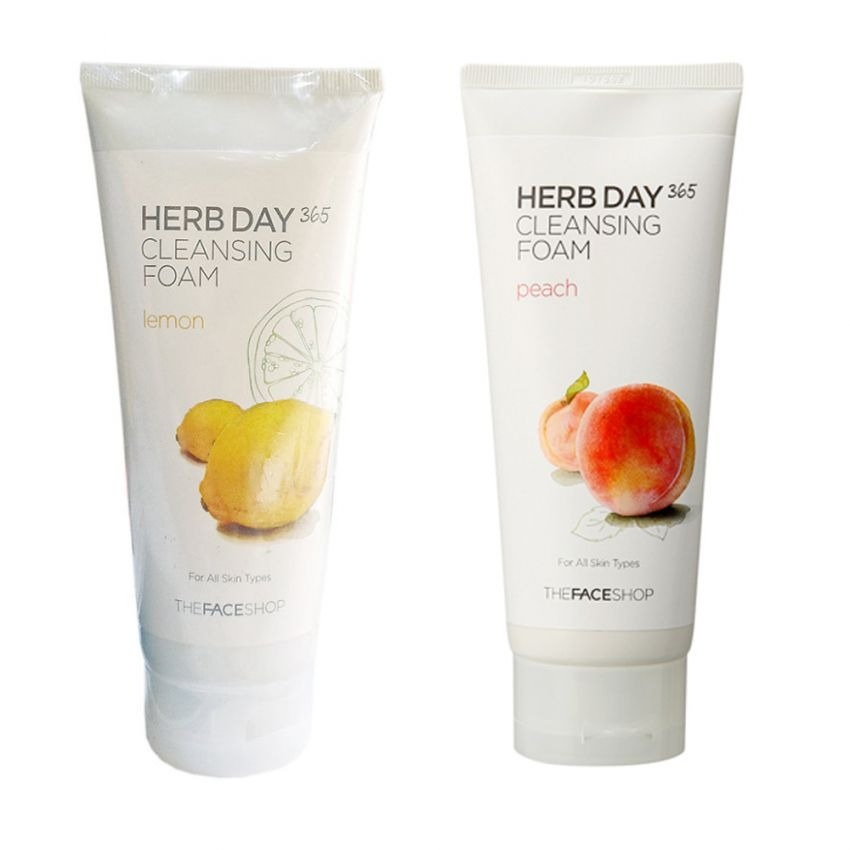 Bộ 2 Sữa rửa mặt làm dịu mát da THEFACESHOP Herb Day 365 Cleansing Foam (Lemon và Peach) 170ml x 2