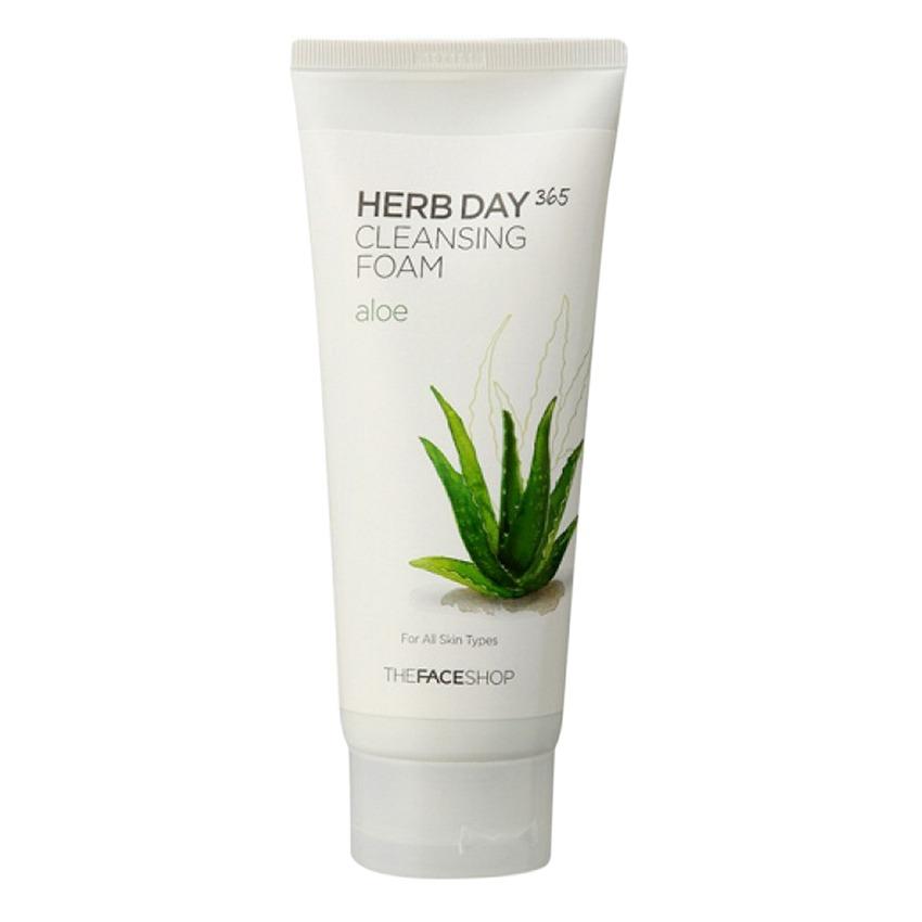 Sữa rửa mặt làm dịu mát da- THEFACESHOP Herb Day 365 Cleansing Foam Aloe 170ml