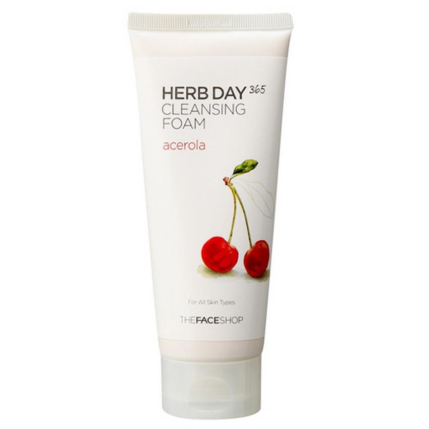 Sữa rửa mặt dưỡng da trắng sáng- THEFACESHOP Herb Day 365 Cleansing Foam Acerola 170ml