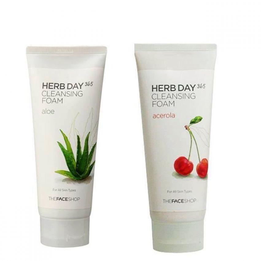 Bộ 2 Sữa rửa mặt làm dịu mát da THEFACESHOP Herb Day 365 Cleansing Foam (Aloe và Acerola) 170ml x 2